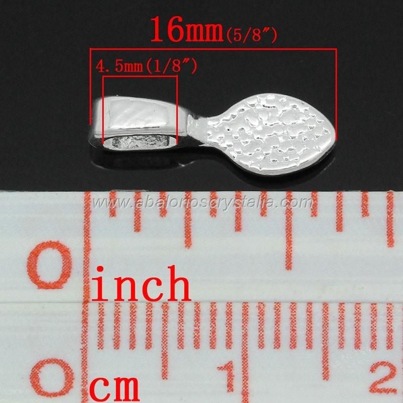 5 COLGANTES PLATEADOS PARA PEGAR CAMAFEOS, CABUCHONES CUENTAS 16x5.5mm