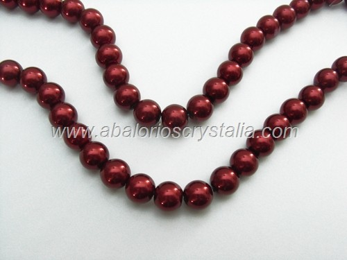 50 PERLAS DE CRISTAL COLOR ROJO BURDEOS 4mm