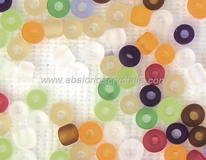 20 GR ROCALLA 6/0 (3.6 - 4mm) MIX DE COLORES EFECTO HIELO