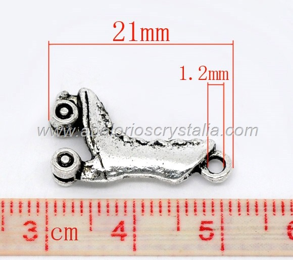 COLGANTE PATÍN PLATA ANTIGUA 21x12 mm
