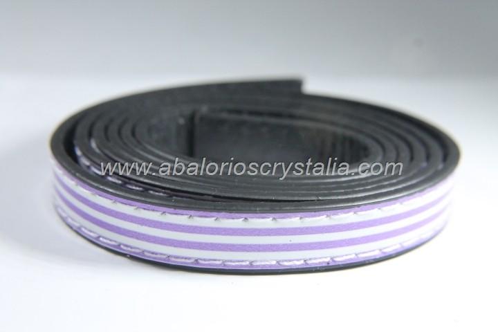 Tira plana cuero sintético estampado rayas blanco-morado 12x2mm (1 metro)