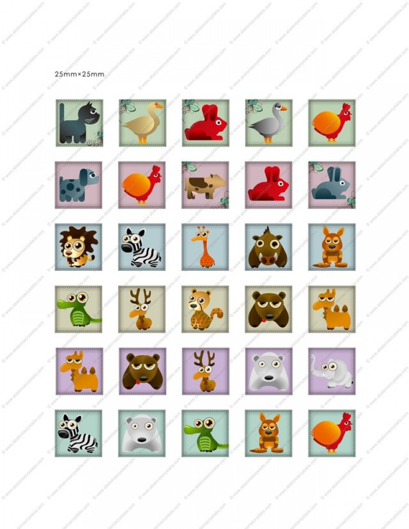 LÁMINA CON 30 IMÁGENES 25x25mm Dibujos animados