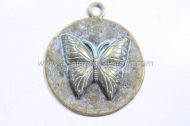 1 MEDALLA MARIPOSA BRONCE VIEJO 44x38mm