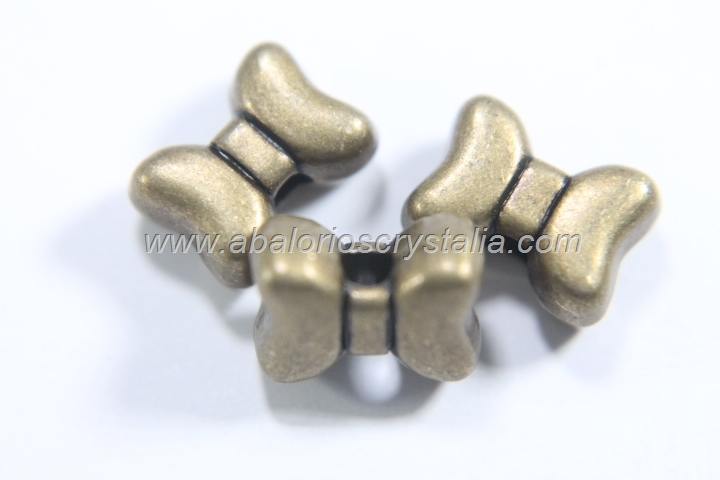 5 ABALORIOS FORMA LAZO BRONCE 10x7mm