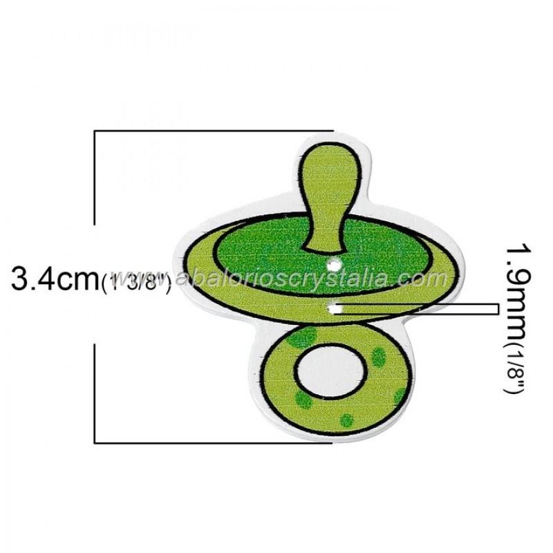 5 BOTONES DE MADERA 2 AGUJEROS CHUPETE MIX 3.4cm x 3.2cm
