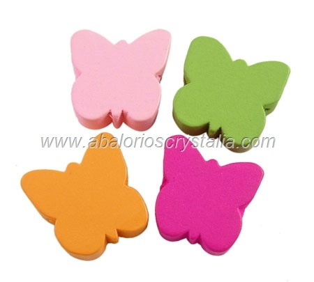 5 MARIPOSAS DE MADERA MIX DE COLORES 16x16x6mm