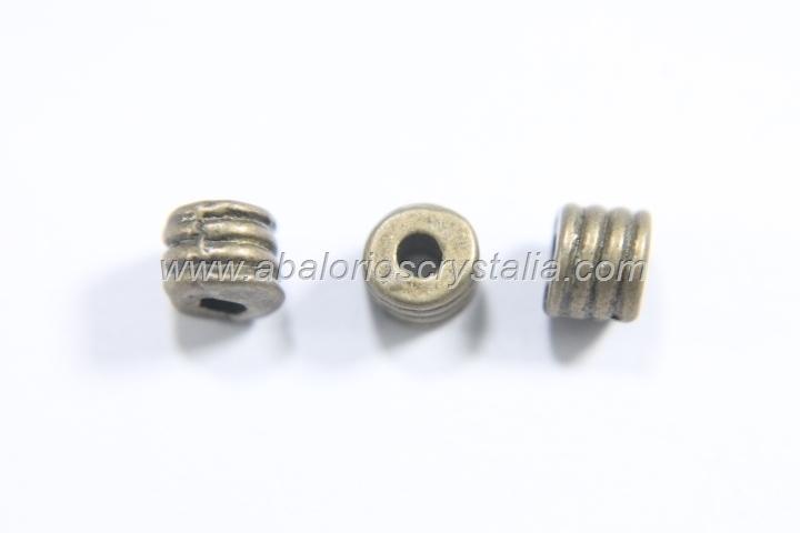 20 ABALORIOS TUBO CORTO BRONCE 4.5x3.5mm