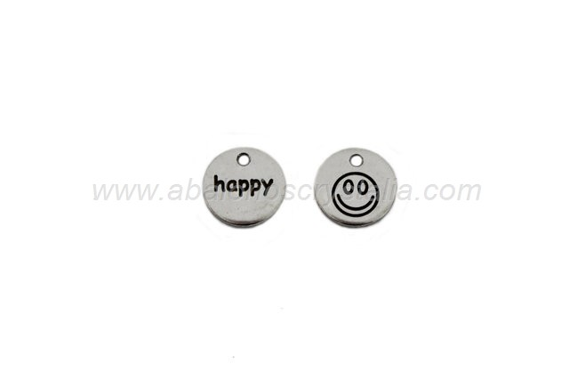 COLGANTE HAPPY ZAMAK BAÑO PLATA 14mm