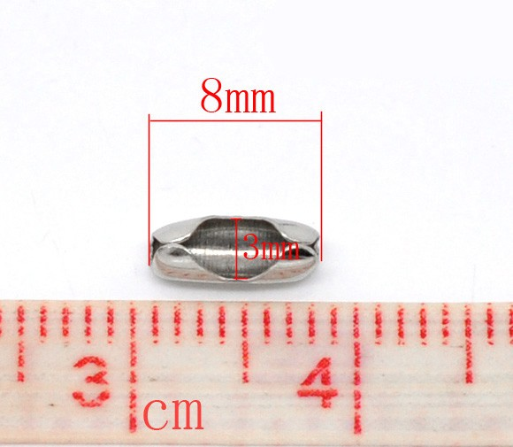 50 TERMINALES PLATA ANTIGUA 8x3mm PARA CADENA DE BOLITAS (Apto 2mm-2.4mm)