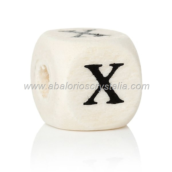 10 CUBOS DE MADERA abc LETRA X COLOR NATURAL BLANCO