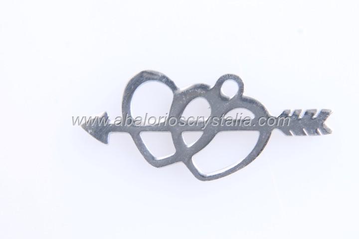 1 COLGANTE CORAZONES FLECHA ACERO INOXIDABLE 27x13mm