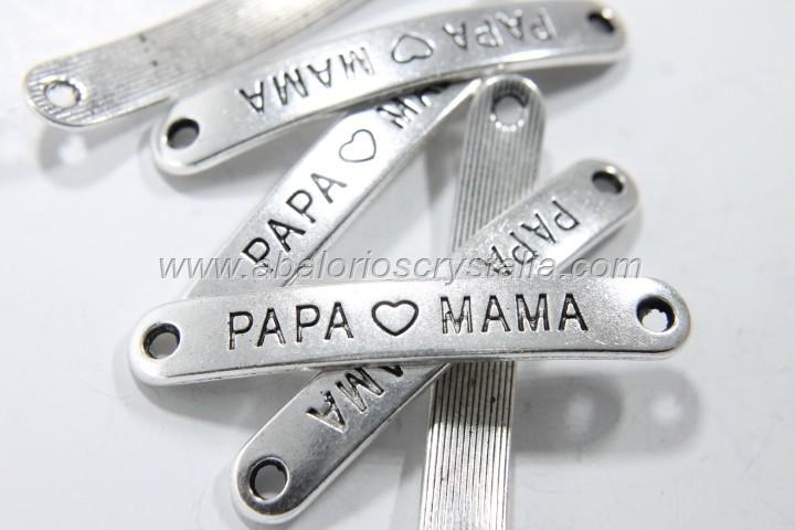 5 CONECTORES CHAPA PAPA - MAMA PLATA ANTIGUA 4.4cm