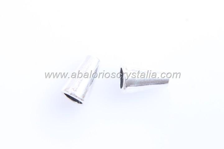 10 ABALORIOS CONO PLATA ANTIGUA 10x6mm