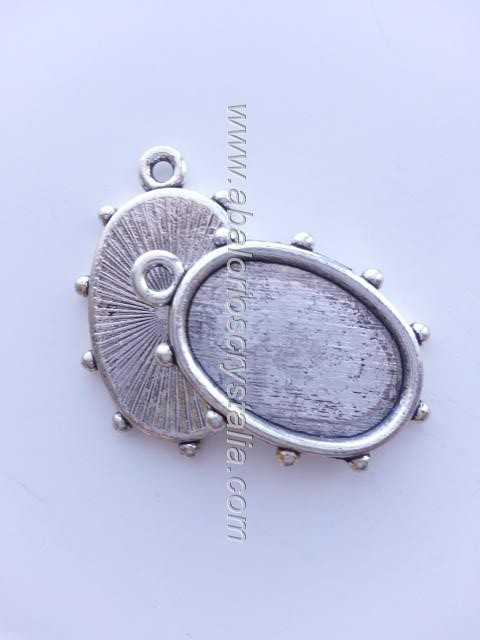 MARCO OVAL PLATA ANTIGUA 19x28mm
