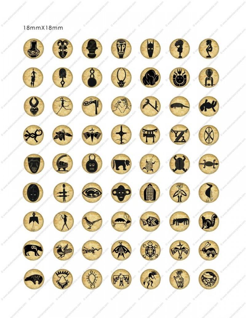 LÁMINA CON 63 IMÁGENES 18x18mm Animales