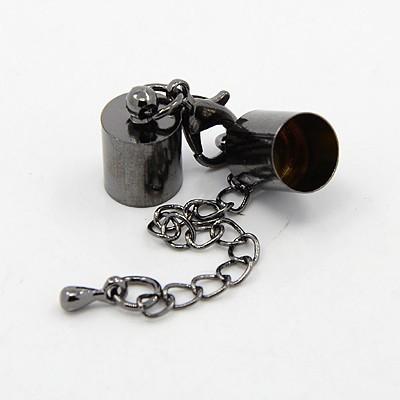 1 CIERRE 35mm: SET PLOMO DE MOSQUETON, CADENA Y TERMINALES CAPUCHÓN  (terminales: 10x6mm)