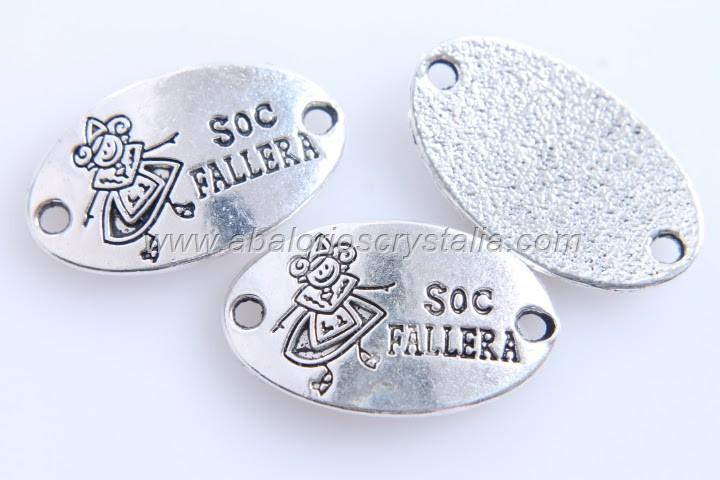 5 CONECTORES CHAPA SOC FALLERA PLATA ANTIGUA 26X15mm