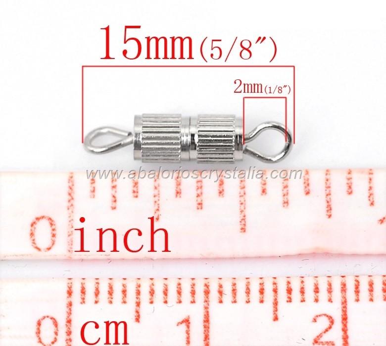 5 CIERRES CON ROSCA PLATEADOS 15x3.7mm