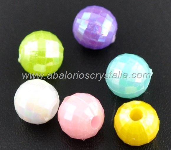 20 BOLITAS FACETADAS MIX DE COLORES 6x6mm