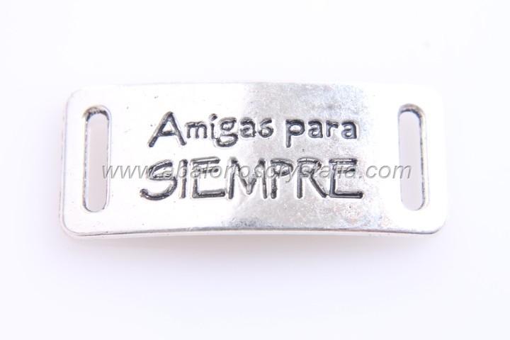 CONECTOR AMIGAS PARA SIEMPRE PLATA ANTIGUA 39x16mm