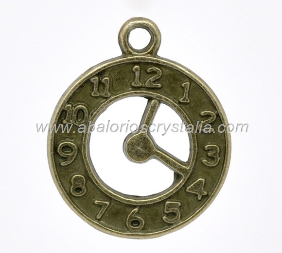 COLGANTE RELOJ COLOR BRONCE 25x20x2mm