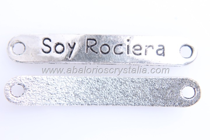 5 CONECTORES Soy Rociera PLATA ANTIGUA 44x7mm