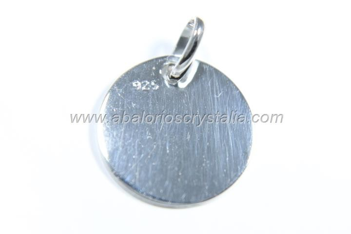 Colgante medalla lisa sin grabar 15mm + anilla plata 925