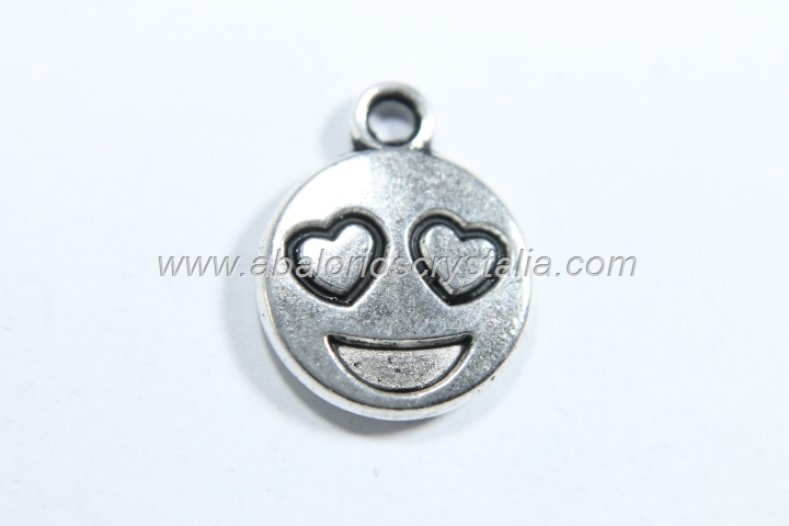 10 COLGANTES EMOTICONO PLATA ANTIGUA 15x12mm. (mod 1 )