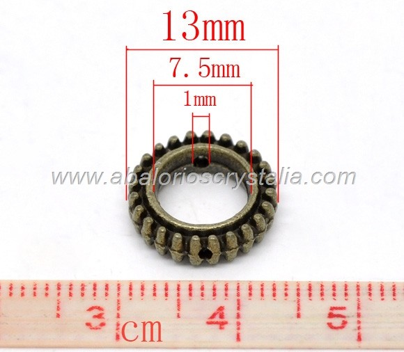 5 MARCOS CIRCULARES BRONCE ANTIGUO 13x3mm