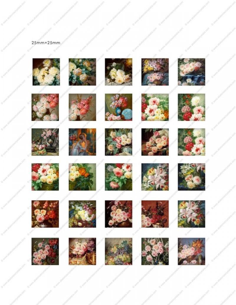 LÁMINA CON 30 IMÁGENES 25x25mm Flores 3