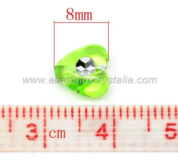25 CORAZONES ACRÍLICOS MIX COLORES 8x8mm