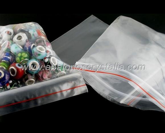 20 BOLSAS DE PLASTICO TRANSPARENTE CIERRE ZIP 12x8cm