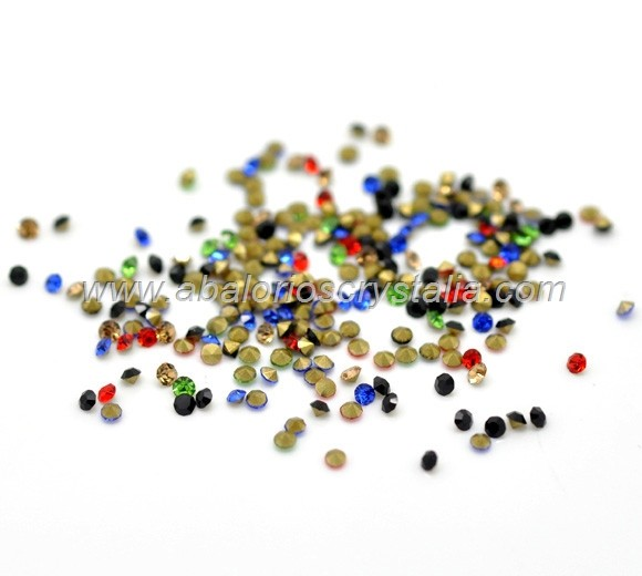 150 CHATONES DE CRISTAL  MIX DE 5 COLORES. SS4 (1.5mm)