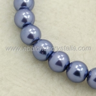 30 PERLAS DE CRISTAL COLOR AZUL LAVANDA 6mm