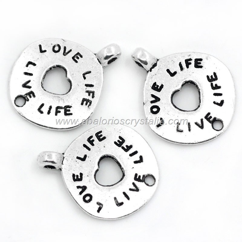 5 CONECTORES FOLLOW YOUR HEART PLATA ANTIGUA 21x17mm