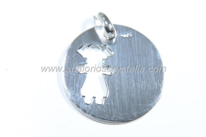 Colgante niña calado 20mm + anilla plata 925