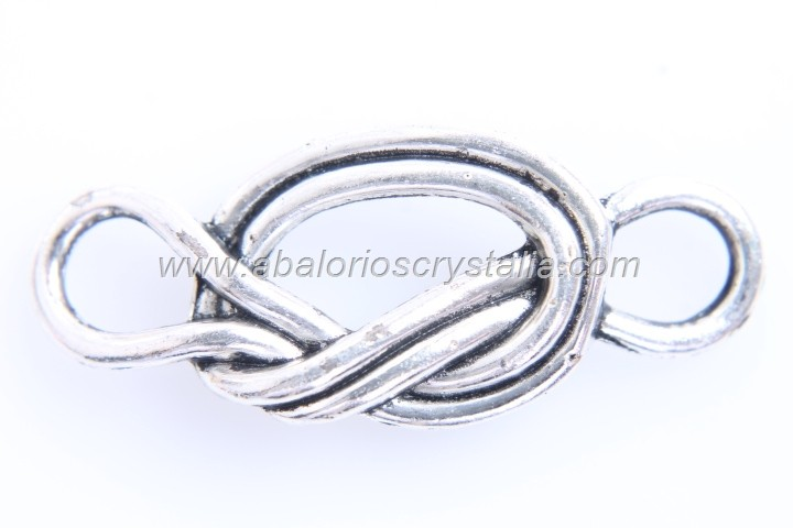 5 CONECTORES NUDO MARINERO PLATA ANTIGUA 39x16mm