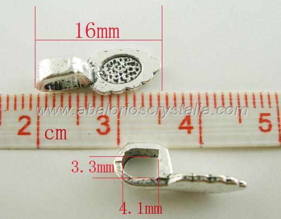 5 COLGANTES HOJA PLATA ANTIGUA PARA PEGAR CAMAFEOS, CABUCHONES CUENTAS 15.7x5.9mm