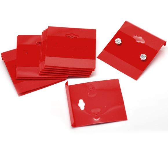 5 SOPORTES DE PLÁSTICO CON TERCIOPELO PARA PENDIENTES 5.3x5cm (rojo)