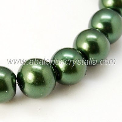 30 PERLAS DE CRISTAL COLOR VERDE OSCURO 6mm