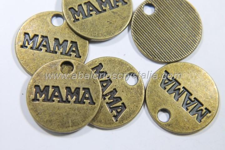 5 COLGANTES MAMA BRONCE 20mm