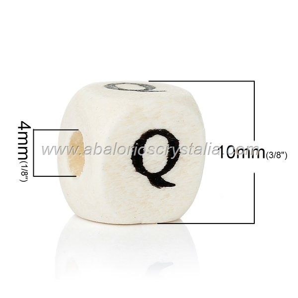 10 CUBOS DE MADERA abc LETRA Q COLOR NATURAL BLANCO