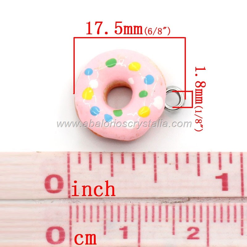 COLGANTE RESINA DONUTS FRESA 17.5x14mm