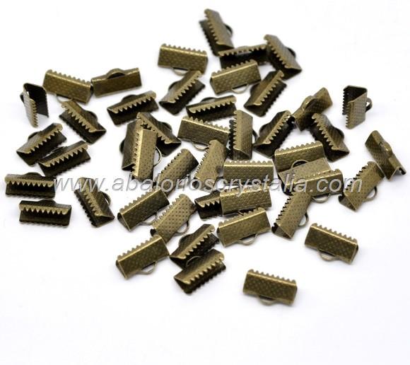 20 TERMINALES PARA CINTA BRONCE ANTIGUO 13x8mm