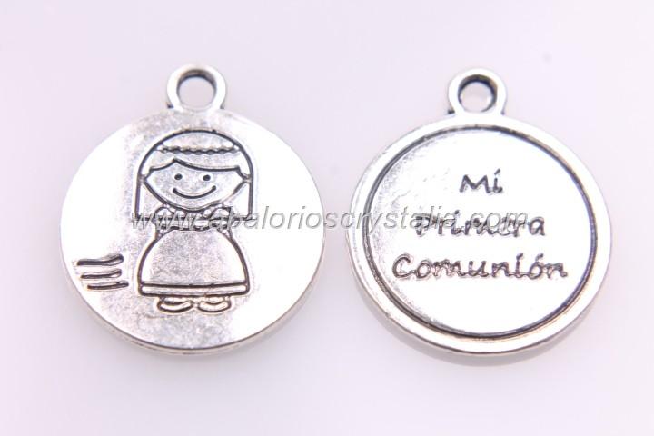 5 COLGANTES Mi primera comunión niña PLATA ANTIGUA 22x18mm ref: 30640