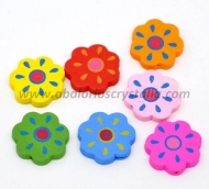 5 FLORES DE MADERA MIX DE COLORES 20x20mm ref: 288