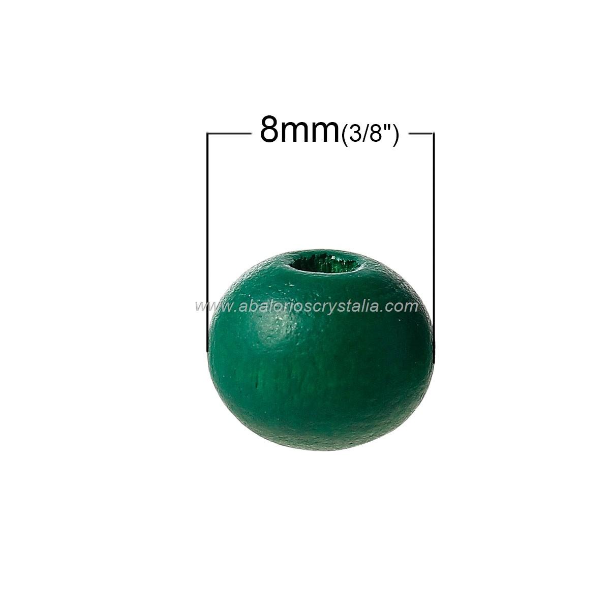 25 BOLAS DE MADERA VERDE OSCURO 2, 8mm