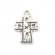 5 CRUCES LABRADAS PLATA ANTIGUA 22x16mm