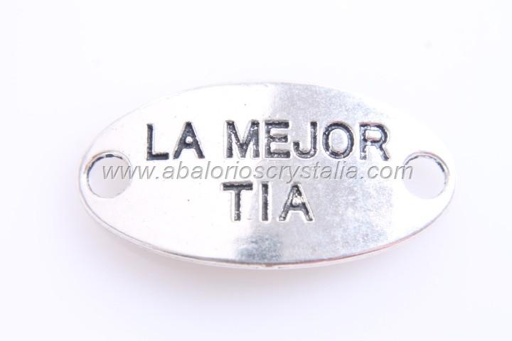CONECTOR La mejor tia PLATA ANTIGUA 38x20mm