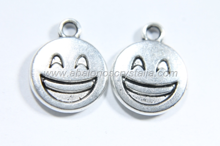 10 COLGANTES EMOTICONO PLATA ANTIGUA 15x12mm. (mod 5)